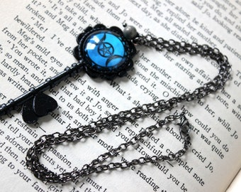 Pentacle Triple Moon Cabochon Black Skeleton Key Necklace with Pyrite - Witchy Goth Pentagram Witchcraft