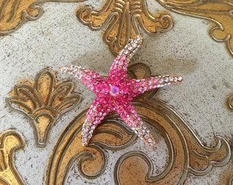 Starfish Brooch.Pink Starfish Brooch.Gold Starfish broach.beach wedding.crystal brooch.rhinestone pin.bridal accessory.pink gold