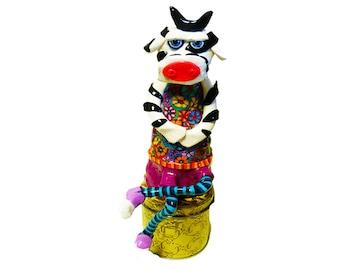 Cow sculpture, shelf sitter, cow, cow decor, cow decoration, cow art, whimsical cow, cow gifts, sculpture, Cows, Farm animal