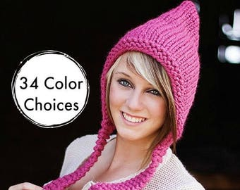 Raspberry Pink Pixie Hat Chunky Knit Hat Pink Womens Hat - Pink Hat Fall Fashion Warm Winter Hat Knit Accessories - 34 Color Choices