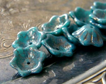Lustre Turquoise  (10) -Czech Glass Domed Flowers 12x11mm