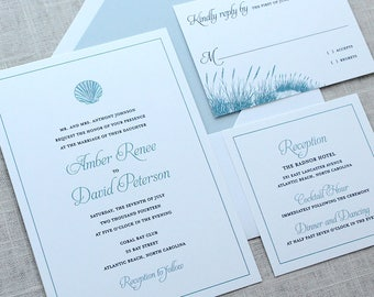 Shell Wedding Invitations, Seashell Wedding Invitations, Sea Shell  Invitations, Beach Wedding Invitations,