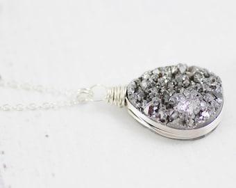Druzy Gemstone Necklace, Geode Jewelry, Sterling Silver Necklace, Silver Pendant Necklace, Wire Wrap Necklace, Druzy Quartz Necklace