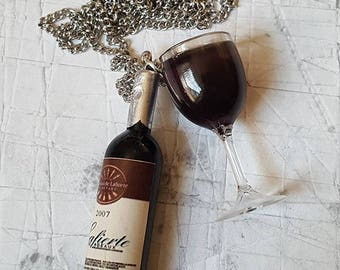 Red Wine Glass & Bottle Necklace