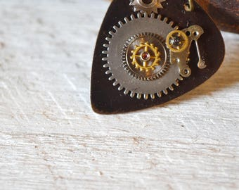 Steampunk Guitar Pick Necklace - Musician Gift - Mens Necklace - Gears - For Him - Womens Necklace - Metal Guitar Pick - Dad - Husband