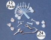 24 Earring Sleeves & Backs, Plastic Pierced Ear Sheath Protector for metal allergies, E'arrs Brand post cover, sensitive ear,12 sleeve pairs