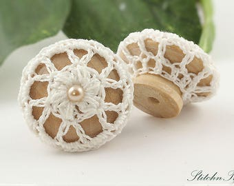 Farmhouse Chic Drawer Pull Knobs, Puff Flower Crochet in White, 1 1/2 Inches Natural Wood