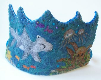Shark Birthday Crown : Felted Wool Crown, Under the Sea (Custom Made Octopus and Sea Creature Crown) Waldorf Inspired