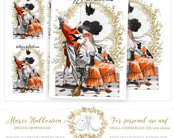 Marie Antoinette Halloween printable, gift tags, card-making, home decor, instant digital download, personal use, commercial license