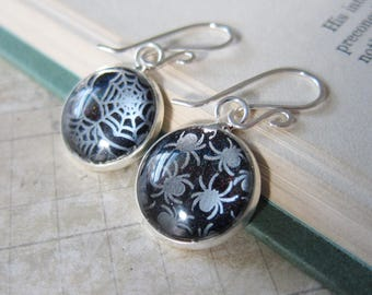 Prism Collection - Cobwebs - Silver and Black Spider and Web Earrings