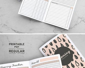 Printable Cleaning Tracker Traveler's Notebook Inserts, MTN Cleaning Tracker Inserts, Printable Midori Cleaning Tracker inserts, PDF file