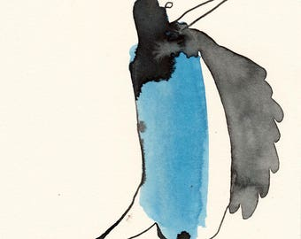 Blue Cloaked Bird Original / watercolour mixed media