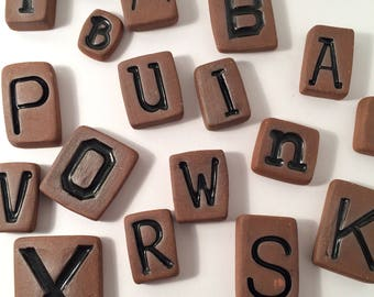 Custom Letter / Alphabet Tiles - Magnets - You Choose Your Letters - Great for Mosaics, Mixed Media, Jewelry, Collage or More!