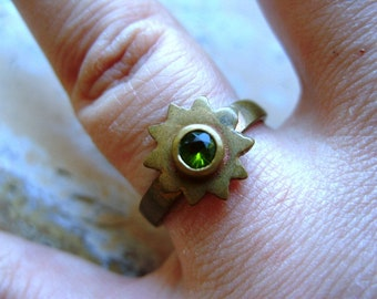FREE SHIPPING Vintage Brass Ring Industrial Style with Green Rhinestone Size 7 1/2