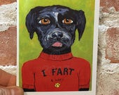 Fart Card - Black Dog Card - Black Lab - Funny Farting Dog - Blank Inside Card - Card for Dad - Card for Him - Dog Stationary - Fart Humor