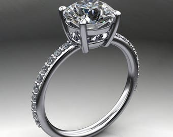 eliza ring - forever one moissanite engagement ring, 2 carats