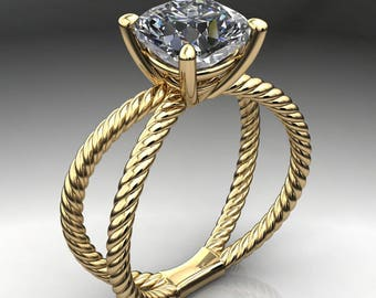 raven ring - 3.3 carat cushion cut NEO moissanite engagement ring, cushion engagement ring