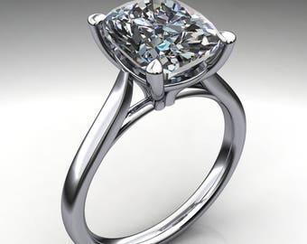 sabra ring - 2.6 carat elongated cushion ZAYA moissanite engagement ring, cushion cut ring