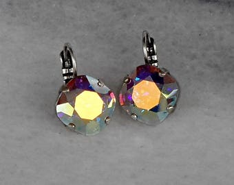 Swarovski crystal 12mm square fancy stone golf earrings clear crystalAB,antique silver pl.setting