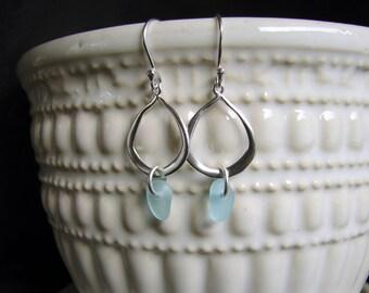 Sea glass earrings / aqua beach glass earrings / seaglass jewelry / sterling silver / ocean jewellery / gift for her / nova scotia