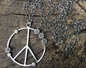 Flower Power and Peace Sign Necklace 34 Inches Long Wear It Two Ways