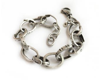 Sterling Silver Large Link Bracelet Heavy Chain Recycled Upcycled Silver Funky Patterns - Fork It Over 5