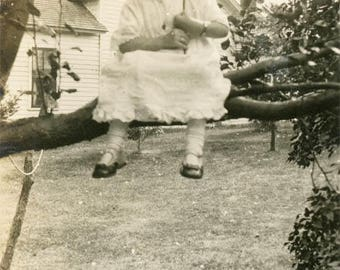 Vintage photo 1914 Little Girl Sits Tree Branch holds American Flag 4th of July