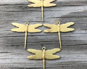 Four Small Raw Brass Dragonfly Charms