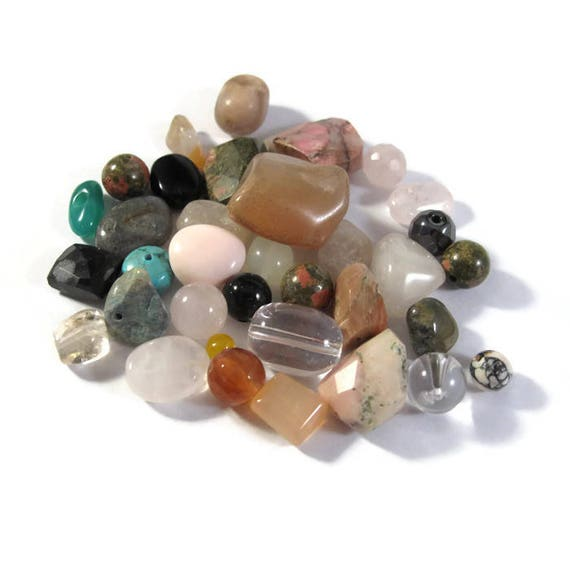 Gemstone Bead Mix,Pink, White, Cream Gemstone Grab Bag, 35 Beads for Making Jewelry, Assorted Shapes and Sizes (L-Mix8b)
