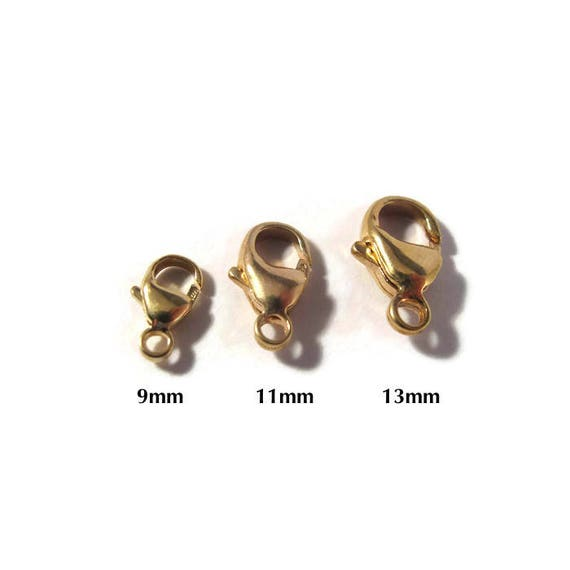 One Gold Clasp, 14k Gold Filled 9mm, 11mm or 13mm Lobster Claw, Gold Findings, Jewelry Findings, Jewelry Supplies, Shiny Gold Clasp (F 117f)