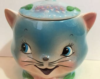 VERY RARE Vintage Retro 1950's Miss Blue Kitty Cat Sugar Jar Antique Chase Pottery Collectible