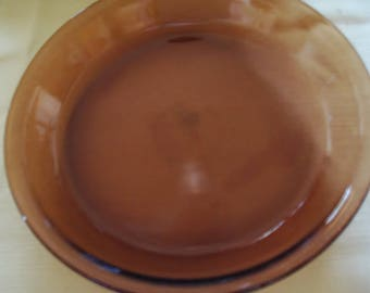 """Vintage Pie Plate Amber colored Anchor Hockey 9"""" Pie  Plate Holds .75 qt or .75Liters"""