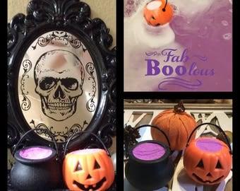 Halloween Pumpkin and Cauldron Set of FaBOOlous Purple Bath Bombs *You PICK the Scent*