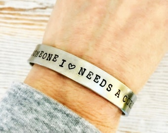 Someone I love needs a cure - cuff bracelet - T1D Type 1 Diabetes - Cancer- Disease Support Group - Mothers Day gift for her - Pewter