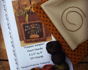 Punch Needle Kit Valdani Threads Wool Pumpkin Sampler Pattern Weavers Cloth