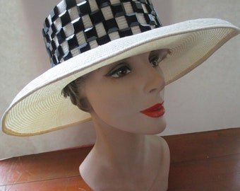 Whittall and Shon Ivory Natural  Straw Fedora Hat Black Faceted Jewels Sun Shade Tall