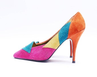 Vintage 80s 90s Abstract Multicolored Suede Stiletto Pumps 7 B// 133