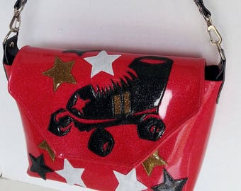 Hot Pink metalflake handbag  w black roller derby skate and stars