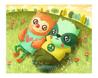Love and Peace Illustration - Cute Animal Print Nursery Art Peace Art Print Woodland Animal Illustration Cute Woodland Nursery Art