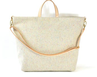 Nicole - Handmade Felted Wool & Leather Tote Bag