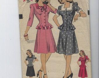Vintage 1940s Hollywood 2 Piece Dress Pattern Pattern 1481 Size 14