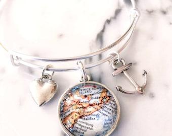 Nova Scotia Map Charm Bracelet - Nova Scotia Charm Bracelet - Nova Scotia Bracelet - Halifax Bracelet - Graduation Gift