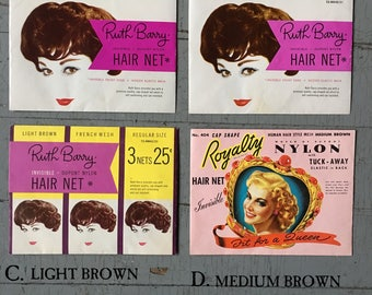 VINTAGE HAIR NETS You Pick 1960 Ruth Barry & 1940 Royalty Hair Net Vintage Hair Style Vintage Hairdressing Vintage Gift