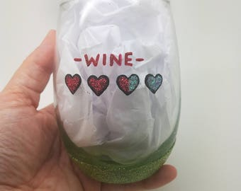 Zelda Hearts Life Hand Painted Sparkle Glitter Wine Glass