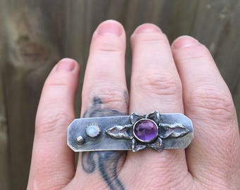 Celestial Amethyst Knuckle Ring Sterling Silver Moonstone