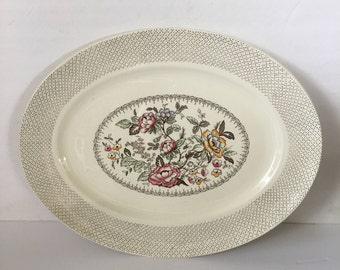 Swing Time 18 Inch Serving Platter by Myott Son & Co Hanley English Transferware Floral Bouquet Dots and Slashes