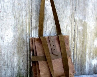 Leather Triple Utilitarian Bag in Taupe Brown by Stacy Leigh