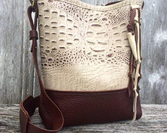 Leather Bucket Bag with Adjustable Strap in Embossed Ivory Gator Leather and Soft Pebbled Mahogany Brown Leather by Stacy Leigh