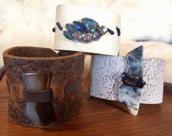 Ivory Leather Cuff with Vintage Blue Rhinestones and Handsewn Seed Beads by Stacy Leigh