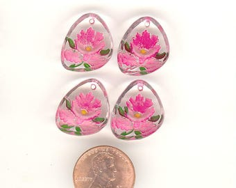 4 Vintage Glass Intaglio Flower Pendants Shades Of Pink Reverse Painted 17mm No. 14B